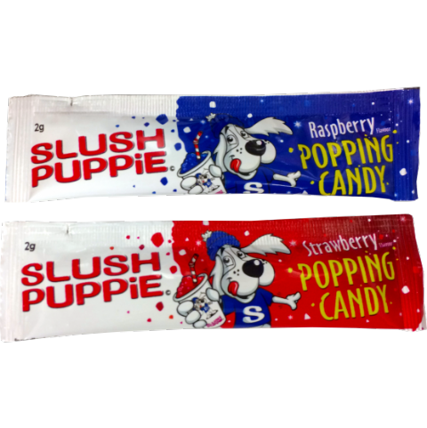 2 x Strawberry & Blue Raspberry Slush Puppie Popping Candy Sachets 2g